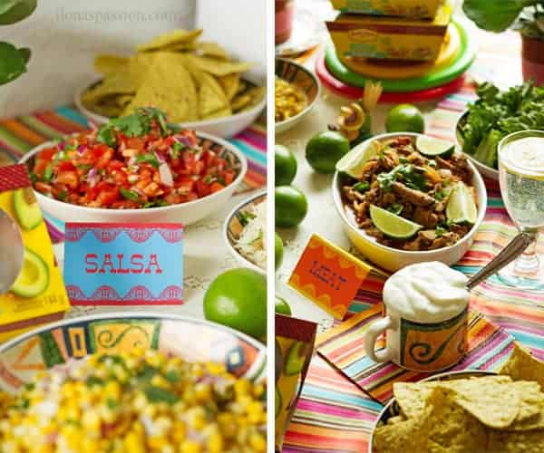 Printable table tents for salsa and meat surrounded by chips, corn, homemade salsa and sour cream.