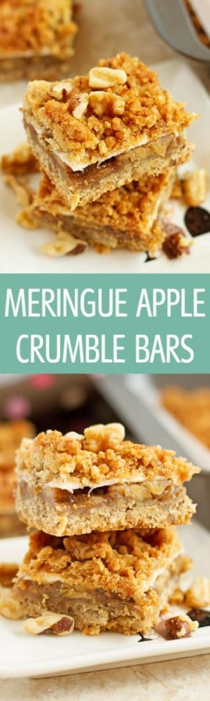 Meringue Apple Crumble Bars - Apple crumble bars recipe made with brown sugar apples and meringue layers. Topped with buttery crumble topping. A perfect dessert not only for Autumn! by ilonaspassion.com I @ilonaspassion