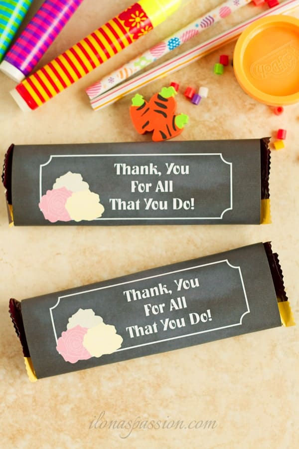 Free Back to School chocolate bar wrapper printable.