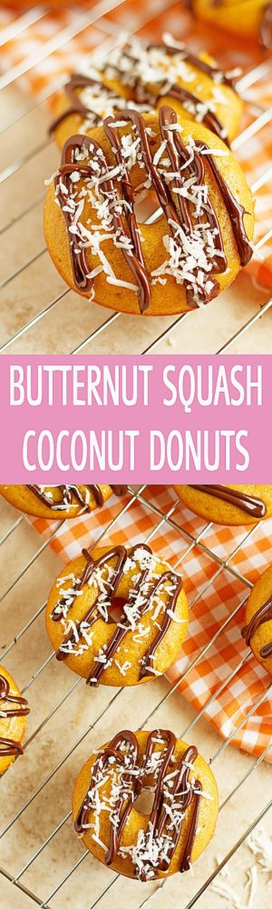 Butternut Squash Coconut Donuts - Kid-friendly moist coconut mini donuts recipe made with butternut squash and drizzled with chocolate. Great recipe for Brunch! ilonaspassion.com I @ilonaspassion