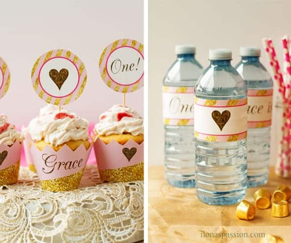 Baby girl 1st birthday with printable beverage labels for water bottles and cupcakes with printable wrappers and toppers.