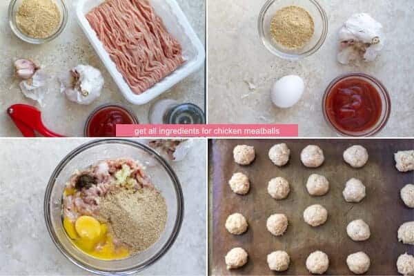 Step by step on how to make chicken meatballs with egg, breadcrumbs and spices by ilonaspassion.com I @ilonaspassion