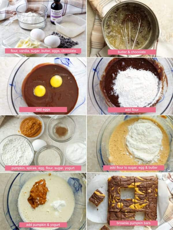 Step by step how to make brownie pumpkin bars, mixing chocolate batter, pumpkin batter, adding eggs and flour by ilonaspassion.com I @ilonaspassion