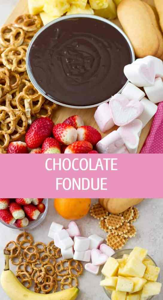 Chocolate fondue recipe with ideas and dippers like fruits, pretzels and marshmallows. Easy to make homemade chocolate sauce by ilonaspassion.com I @ilonaspassion