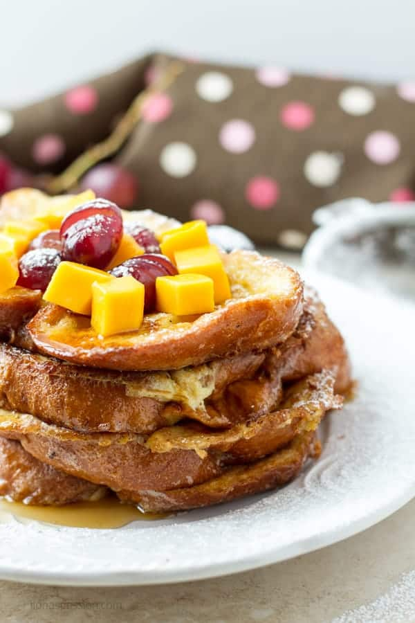 Challah French toast stacked on each other.