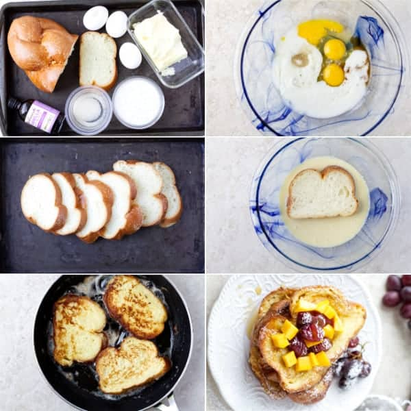Step by step on how to make no milk challah bread slices dipped win egg mixture and fried on the pan by ilonaspassion.com I @ilonaspassion