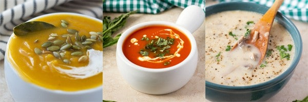 3 soup recipes: Roasted butternut squash, tomato basil and cream of mushroom.