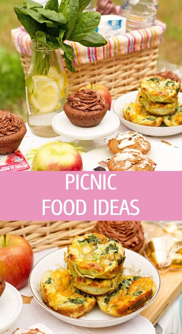 All recipes to make a picnic on the grass in the park with muffins, chocolate and fresh fruits.