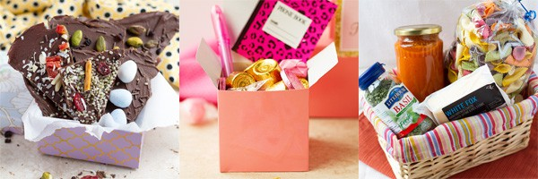 Chocolate bark in a box, basket with pasta and pink box goodie bag as gift ideas.