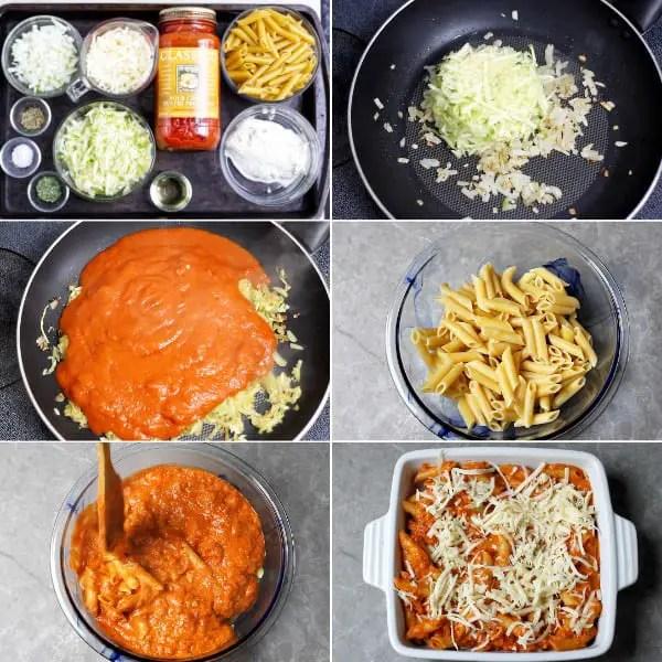 Ingredients to make baked ziti.