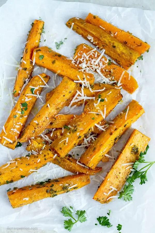 Oven baked sweet potato wedges.
