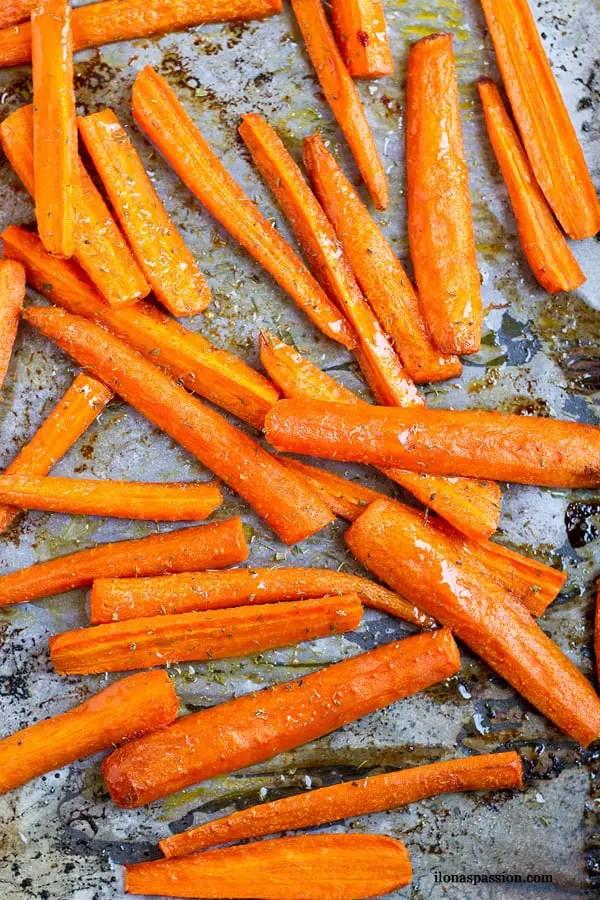 Oven baked carrot fries.