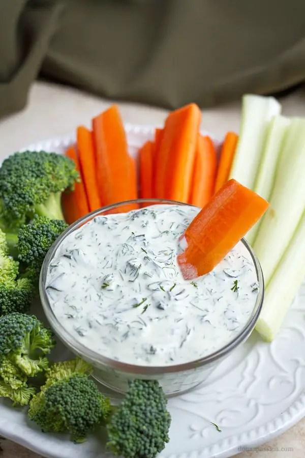 Carrot in dill dip.