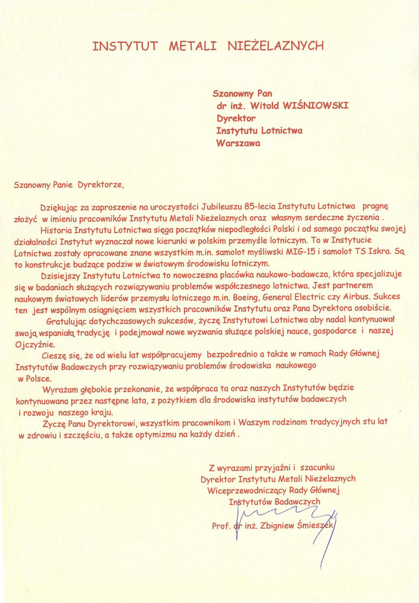 85th Anniversary congratulation letters - Łukasiewicz Research