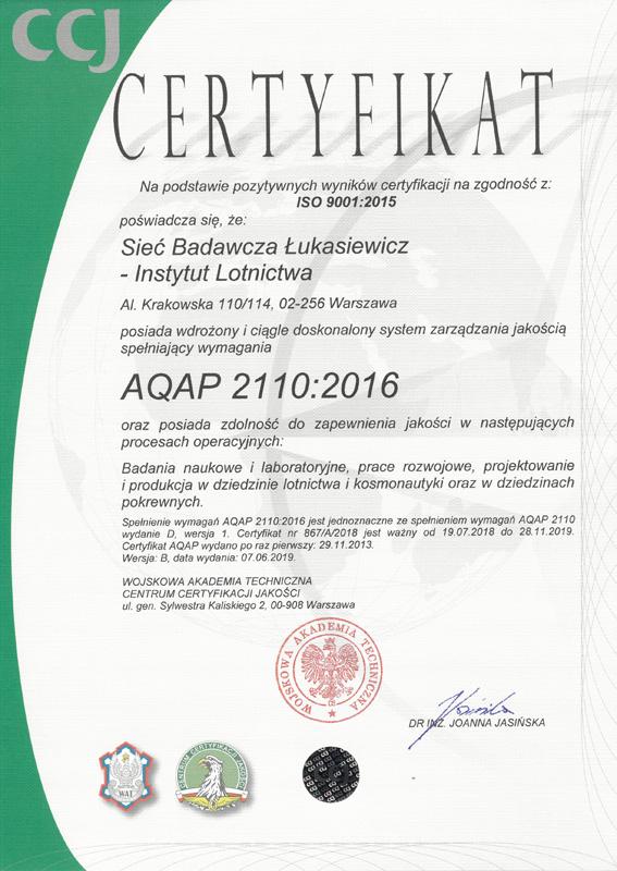 fd24447f9d041c Certyfikaty - Sieć Badawcza Łukasiewicz - Instytut Lotnictwa