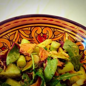 Detox recept voor een detox salade: Makreelsalade met appel en avocado.