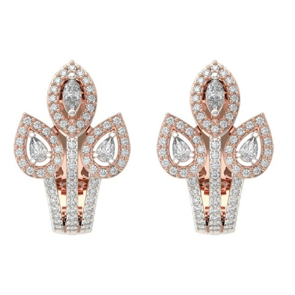 Exquiste Eyeful Diamond Earrings In Pink Gold For Women view 1