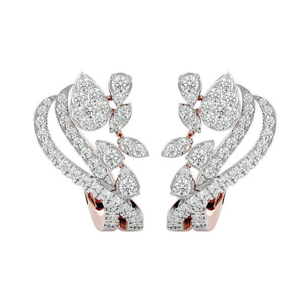 Caressed Petals Diamond Earrings In Pink Gold For Women view 2