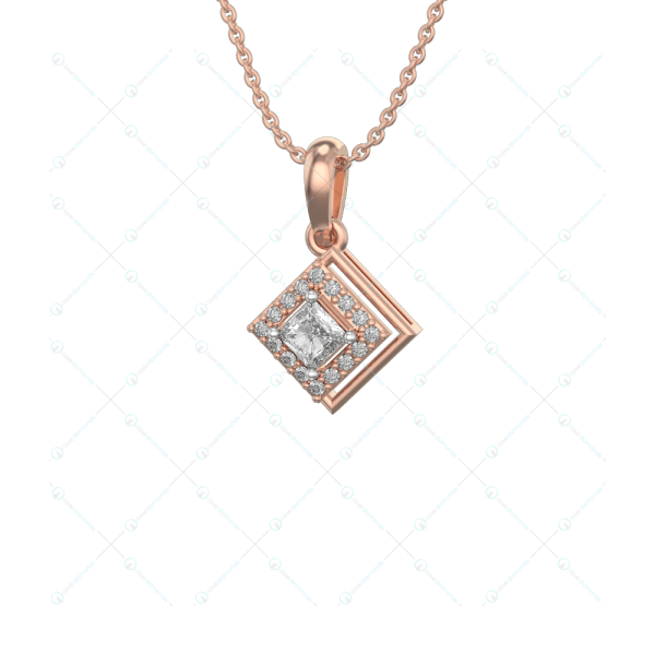 0.25 ct Dreamy Delights Solitaire Pendant in Pink Gold for Women (Halo) v1