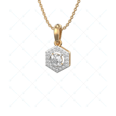 0.30 ct Hexad Solitaire Pendant in Yellow Gold For Women(Halo) v1