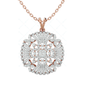 Mysterious Glow Diamond Pendant In Pink Gold For Women v1