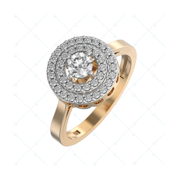 0.25 ct Circling Solitaire Solitaire Engagement Ring in Yellow Gold For Women v1