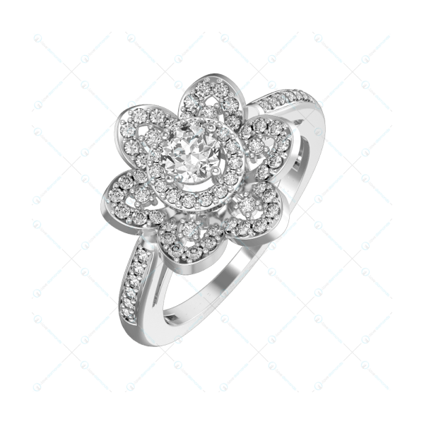 0.25 ct Fancy Flora Solitaire Engagement Ring in White Gold For Women v1