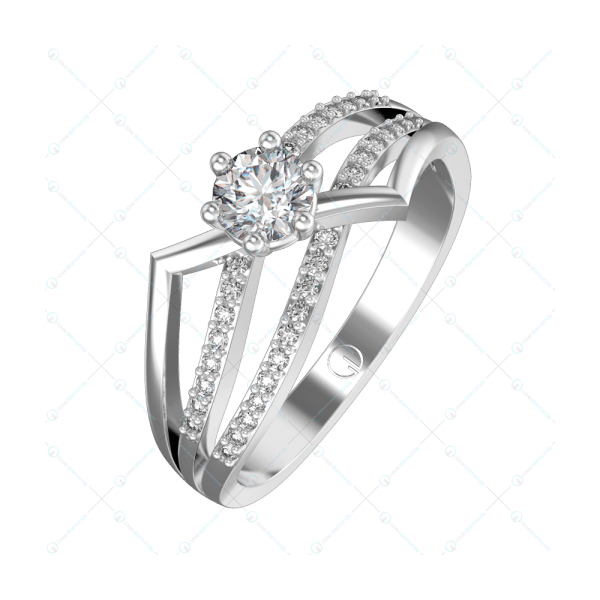 0.30 ct Princess Zena Solitaire Engagement Ring in White Gold For Women v1