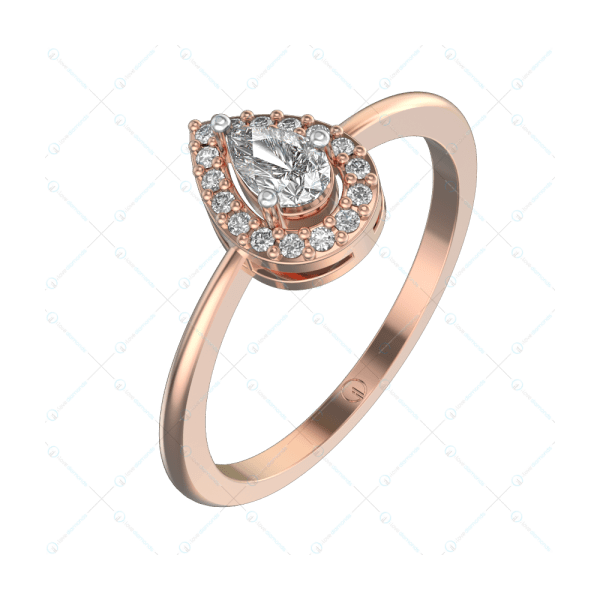 0.25 ct Angelina Solitaire Engagement Ring in Pink Gold For Women (Halo) v1