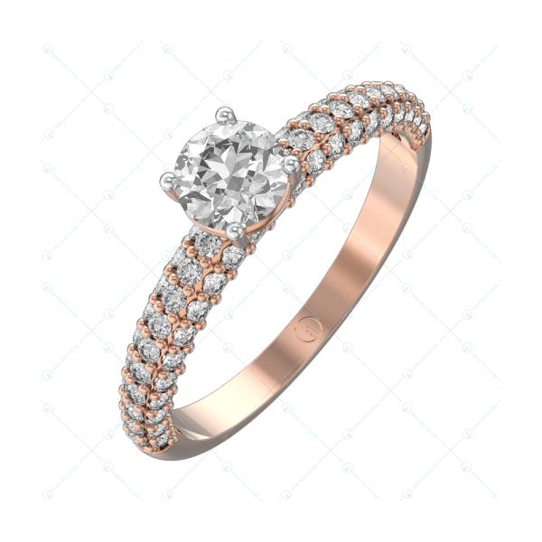 0.30 ct Angel's Kiss Solitaire Engagement Ring in Pink Gold For Women v1