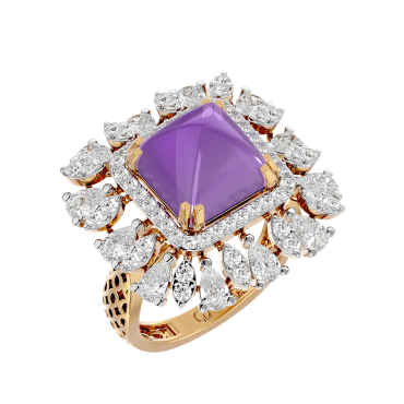 Glorious Amethyst Diamond Ring In Pink Gold For Women view 1