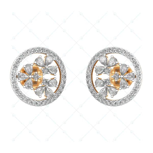 Exotic Diamond Studded Flowery Studs In Yellow Gold For Women v1
