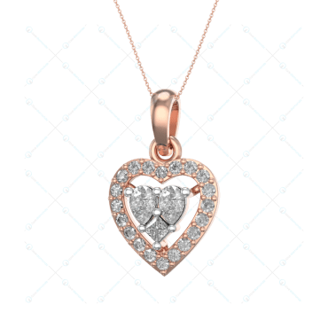 Blushing Hearts Diamond Pendant In Pink Gold For Women v1