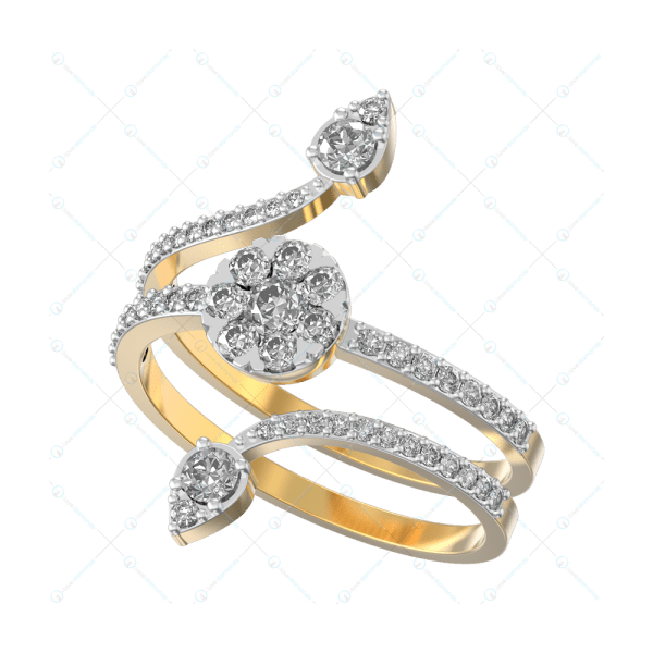 Twirling Allure Diamond Ring In Yellow Gold For Women v1