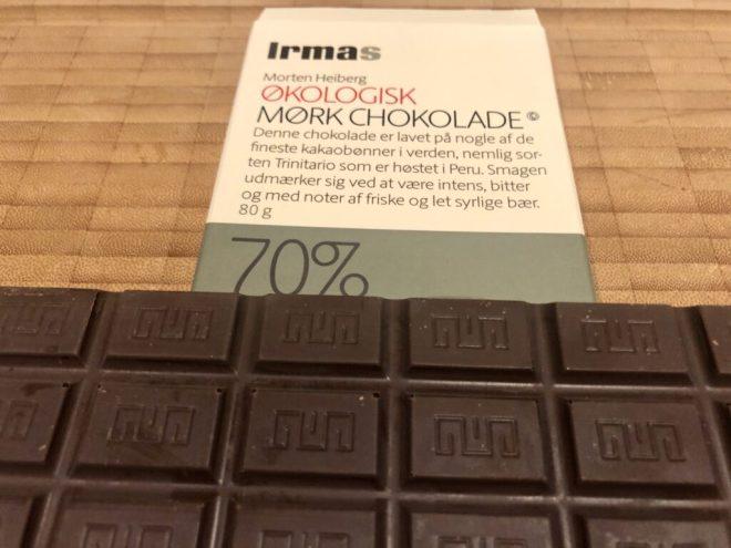 Irmas Morten Heiberg økologisk mørk chokolade 70%