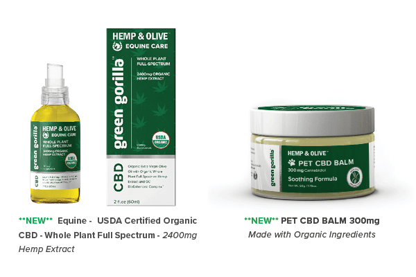 Green Gorilla CBD Balm 300mg and NEW Full-Spectrum Horse CBD Oil 2400mg unveiled at Natural Products Expo East