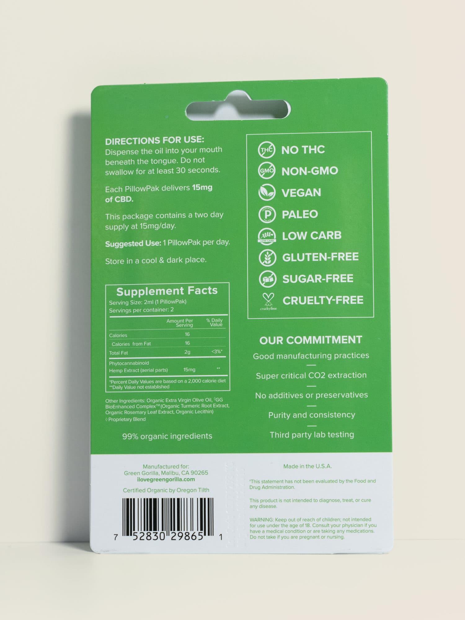 Buy USDA Certified Organic Pure CBD oil single serve blisterpacks 30 mg