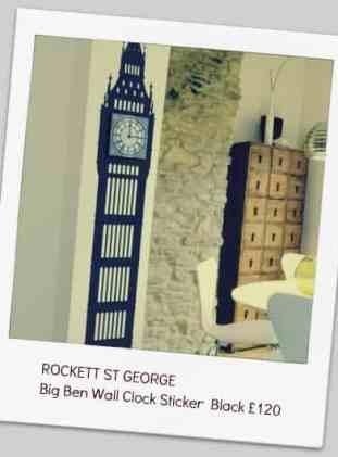 ROCKETT ST GEORGE  Big Ben Wall Clock Sticker – Black