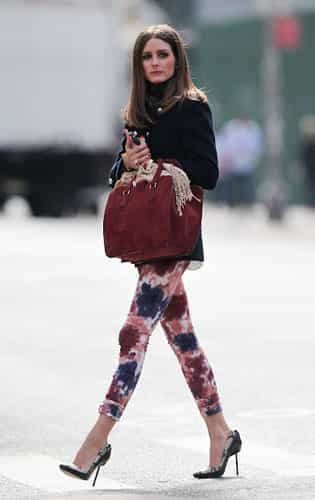 Olivia Palermo in Paige Verdugo Tie dye jeans