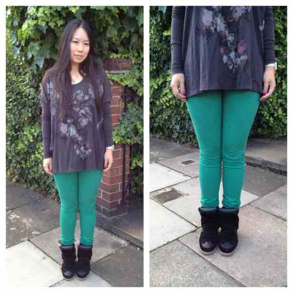Kitty wearing Current Elliott/Stiletto skinny in 'aquamarine green