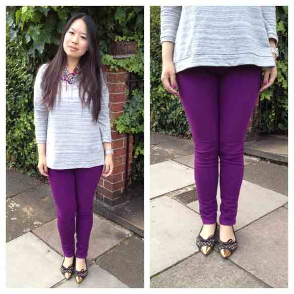 Kitty wearing Current Elliott/Stiletto skinny in Purple