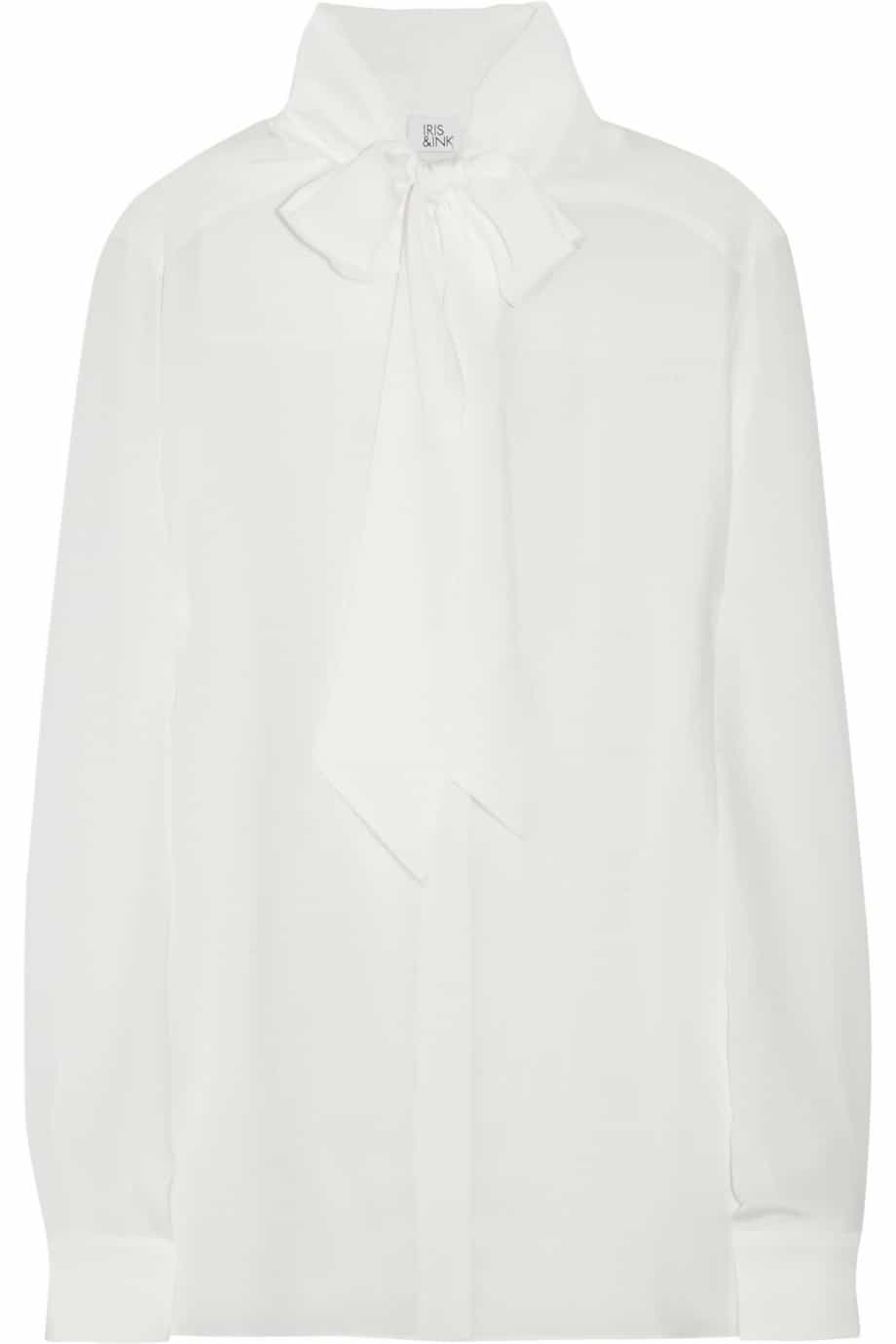 Iris & Ink The Pussybow silk-crepe blouse THE OUTNET price £98