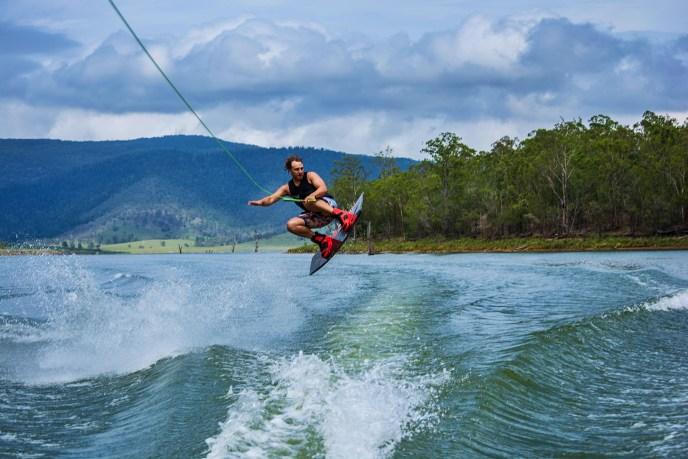 Wake boarding in Lake Arrowhead