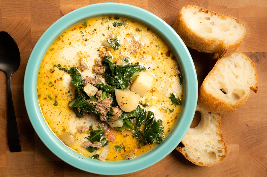 Warm Italian Soup with crusty bread