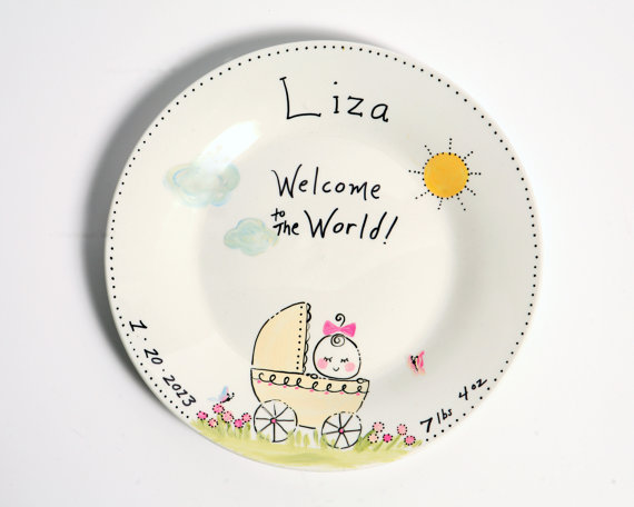 Personalized baby girl cermic plate hand drawn hand painted