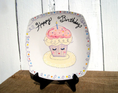 Personalized birthday hand painted ceramic cupcake plate