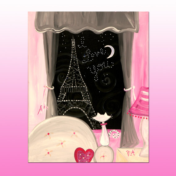 Valentine Painting I Love You Original Eiffel Tower Art