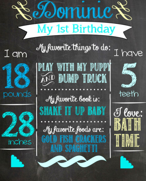 How to make your own super cute chalk board picture for First birthday board template