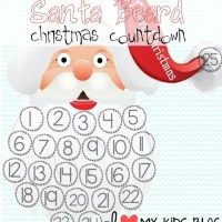 FREE Christmas Printables! Christmas Countdown Santa Beard & Christmas Bucket List (Blank and Worded)