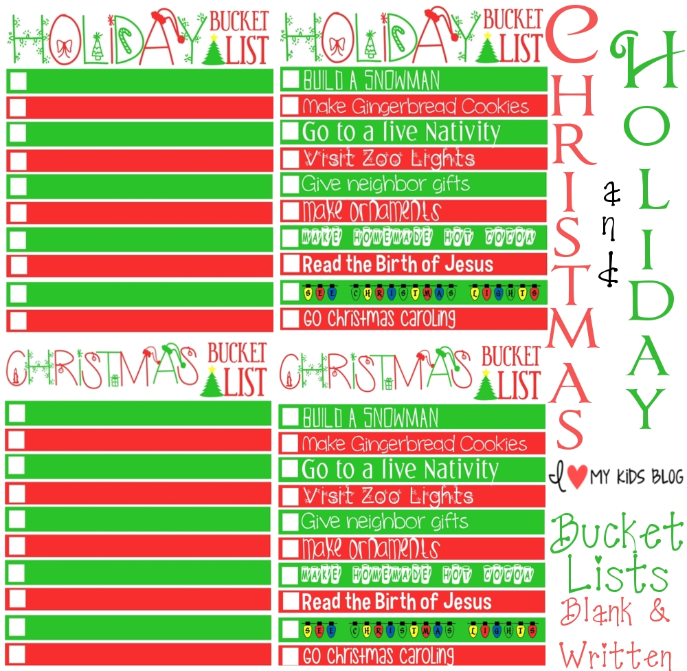 christmas printable bucketlist collage